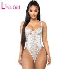 LIVA GIRL White Floral Lace Teddy Sexy Bodysuit Women Backless Sleeveless Bodysuits with Adjustable Straps Female Cami Body Tops недорого