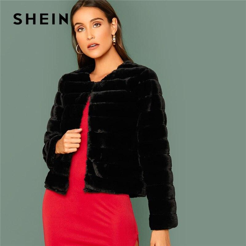 SHEIN Black Open Front Faux Fur Coat Women Winter Long Sleeve Highstreet Ladies Solid Glamorous Outwear Party Coats 1
