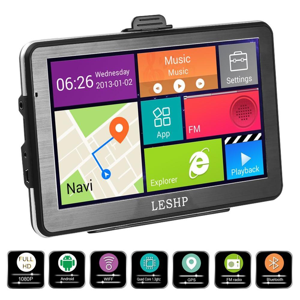 LESHP 7 zoll HD Auto GPS Navigation Android 8GB Quad-core Automobil 3D Navigator Smart Stimme Erinnert für Verschiedene ländern