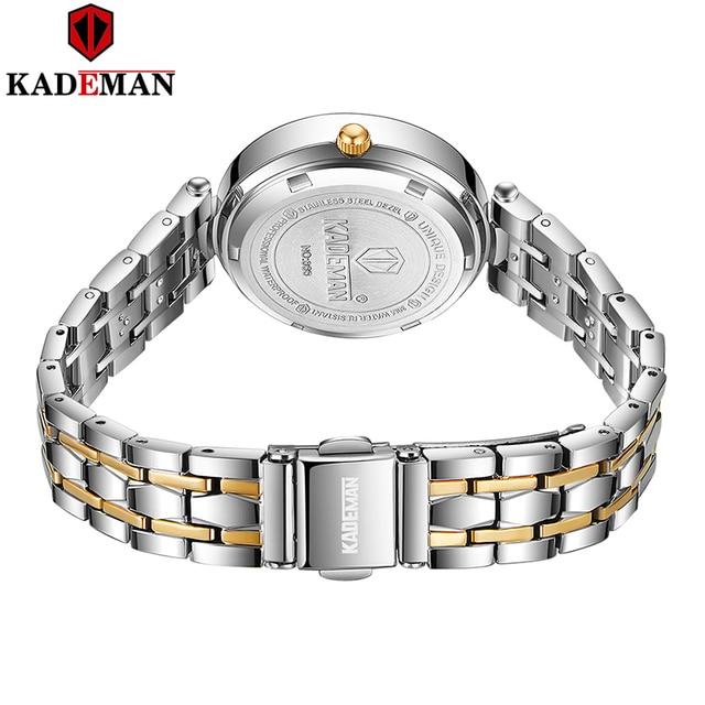 Kademan 2020 vestido de ouro relógio feminino cristal diamante relógios de pulso adies aço inoxidável prata relógio feminino montre femme 3