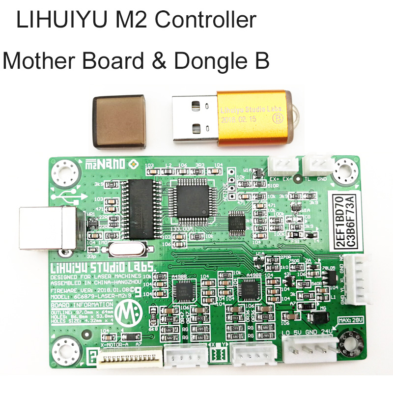 LIHUIYU M2 Nano Laser Controller Mother Main Board System+ Dongle B Co2 Engraving Cutting Machine 3020 4030 6040 Engraver Cutter