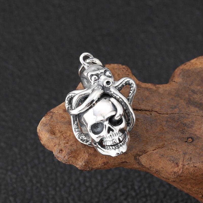 Véritable 925 en argent Sterling créatif poulpe crâne pendentif collier mode Thai argent bijoux pour hommes et femmes - 5
