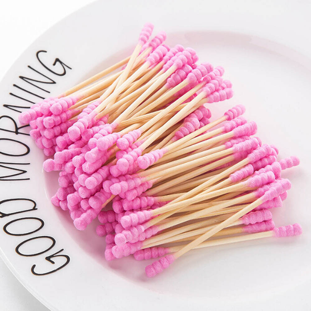 100Pcs/ Lot Double Head Cotton Swab Women Makeup Cotton Buds Tip For Medical Wood Sticks Nose Ears Cleaning Health Care Tools