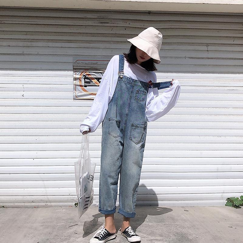 Women Denim Jumpsuit Bib Jeans Overalls Casual Basic  Washed Jeans Trousers Leisure Loose Pants Wide Leg Rompers