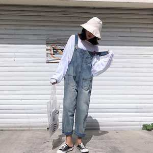 Jeans Overalls Trousers Rompers Women Denim Pants Loose Wide Jumpsuit Leg Casual Washed