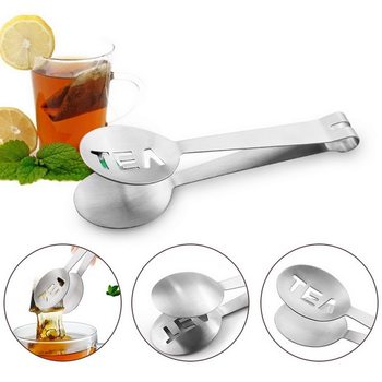 Stainless Steel Tea Bag Tongs Mini Clip Tea Leaf Strainer Reusable Teabag Squeezer Strainer Holder Grip Metal Spoon Gargets image