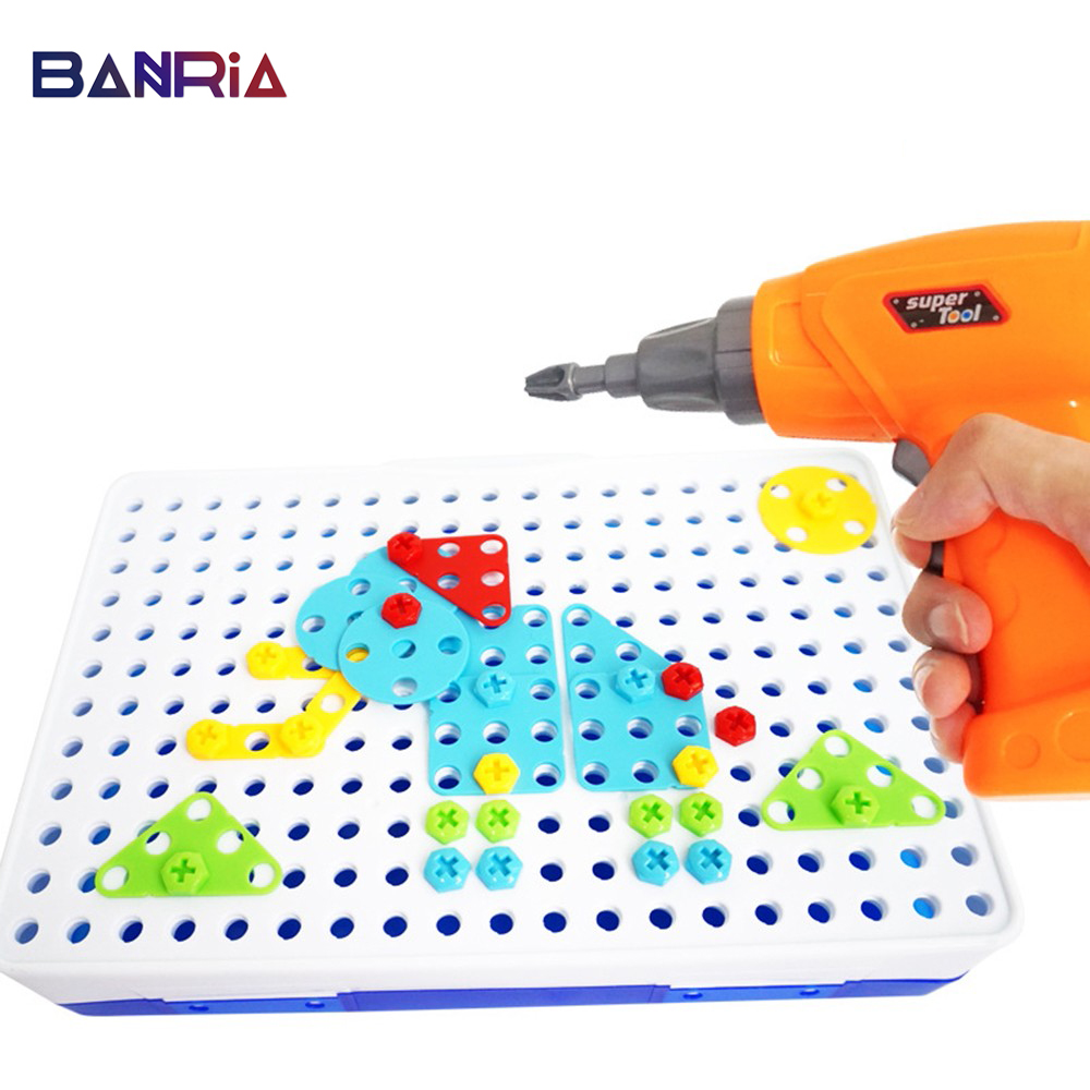 Creative Kids Toys Electric Drill Nut Assembled Match Tool Educational Xmas Gift