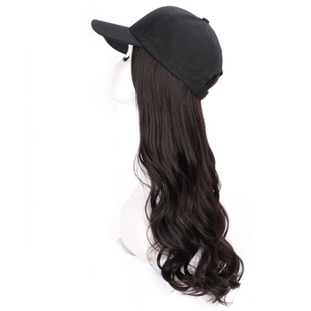 цена на Baseball Cap Hair Wig 22 Synthetic Natural Black / Brown Wave Wigs Naturally Connect Synthetic Hat Wig Adjustable for Women