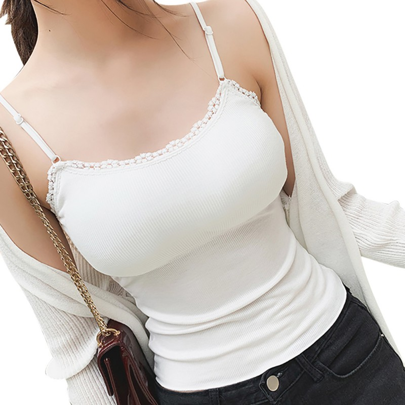 Women Knitted Thread   Tanks   Sexy Slim Sleeveless Lace   Tops   Summer Backless Removable Chest Pad Camis   Tops