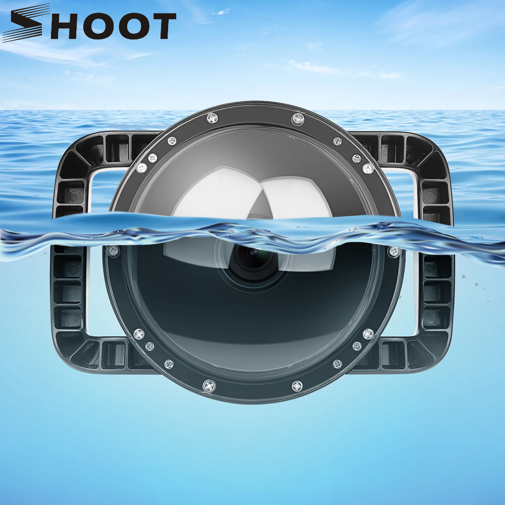 SHOOT 6'' Dual Handheld Dome Port Waterproof Diving Housing Case Cover With Trigger For DJI Osmo Action Camera Lens Accessories