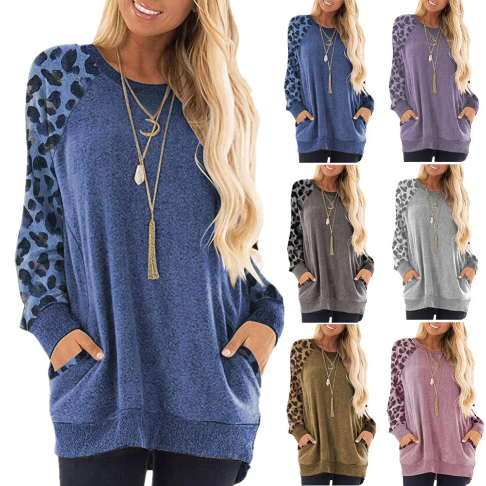 Chic Women Autumn Leopard Printed Patchwork Long Sleeve O Neck Loose Sweatshirt Women  Sweatshirts Female Casual