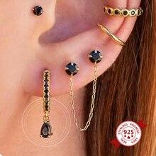 Minimalist 925 Sterling Silver Small Hoop Earrings for Women Black Crystal Zircon Earrings Fashion Jewelry 2020