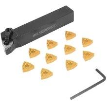10Pcs Wnmg080404 Carbide Insert + 1Pc Mwlnr2020K08 5 Inch Boring Bar Durable Lathe Turning Tool