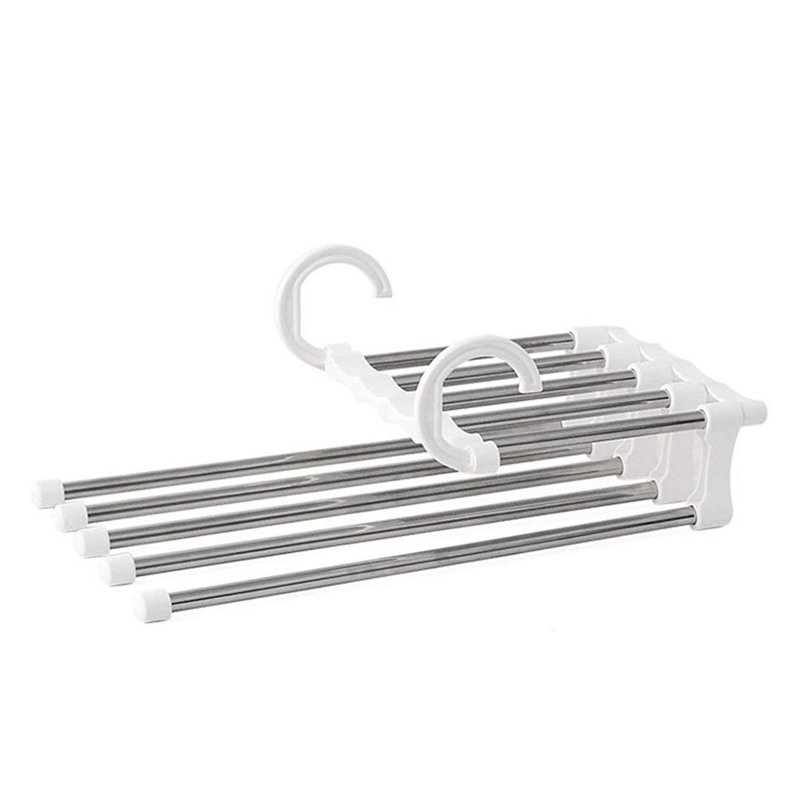Pants Hanger Closet Organizer Non Slip Multi Layers Stainless Steel Adjustable Trousers Storage Rack Space Saving for Jeans Ties|Drying Racks| |  - title=