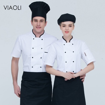 Double breasted Food Service chef uniforms restaurant catering chef clothes high quality Breathable short sleeves Chef Jackets