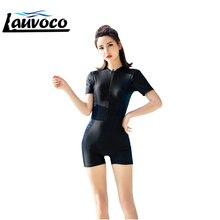 цены One Piece Swimsuit Short Sleeve Bodysuit Professional Swimming Suit Women Training Swimwear Big Size 5XL Sport Bathing Suit