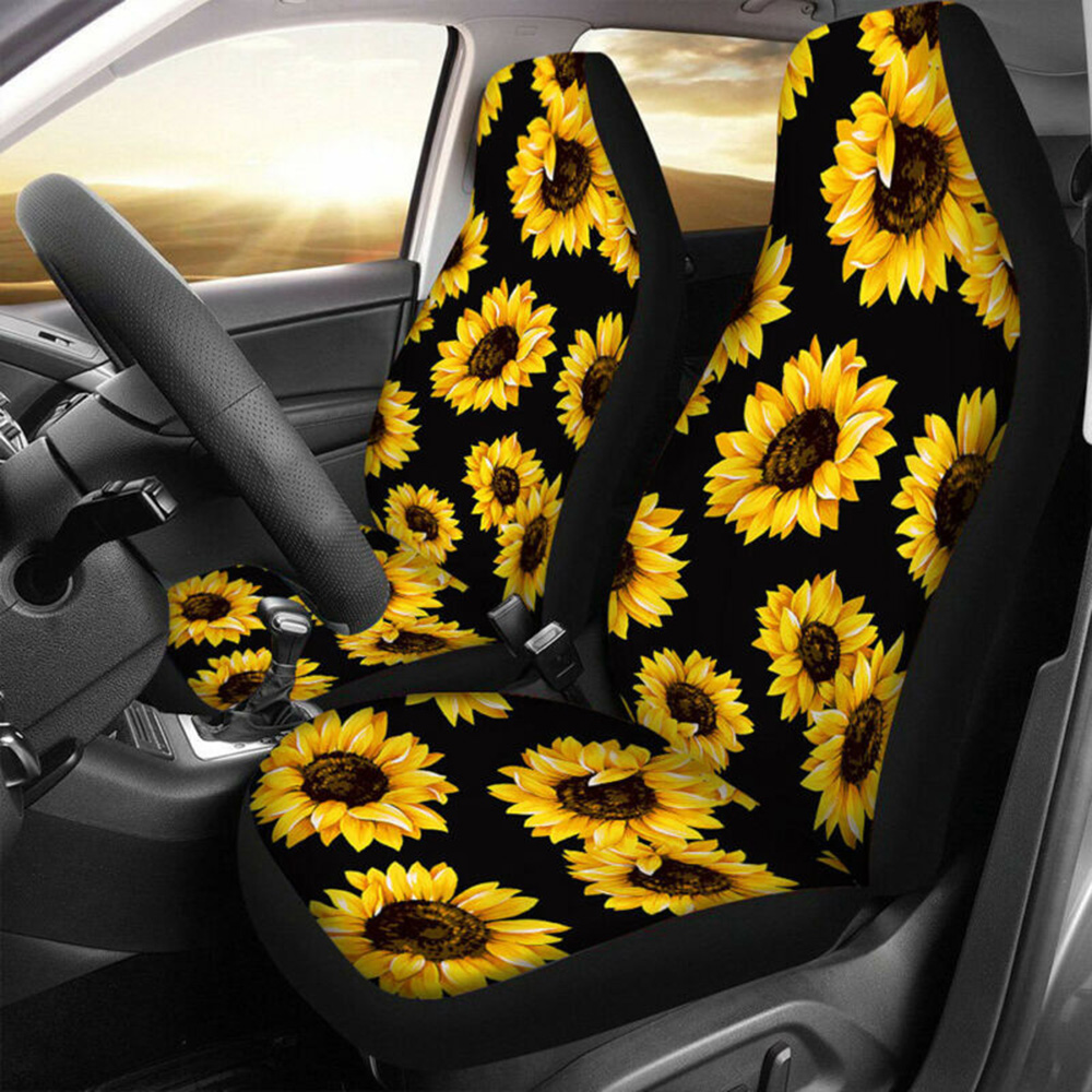 Universal Car Seat Steering Wheel Cover Sunflower Shoulder Guard Pad Non-slip Car Accessories