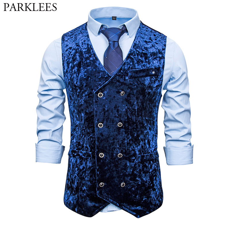 Mens Royal Blue Double Breasted Velvet Vests 2020 Brand New Slim Fit Suit Dress Vest Men Party Wedding Casual Waistcoat For Male