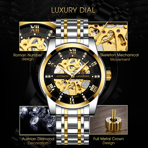 Lavaredo Top Brand Luxury Retro Stainless Steel Men Watch Sport waterproof  Automatic Mechanical Skeleton Watches Cool Design A5 Karachi