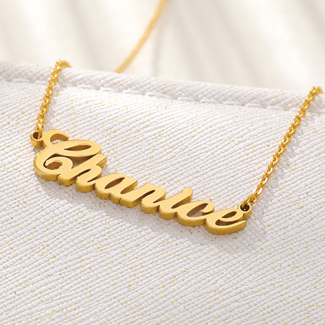 Custom Name Necklace Stainless Steel Personalized Gold Jewelry Handmade Pendant For Women Men Name Necklace