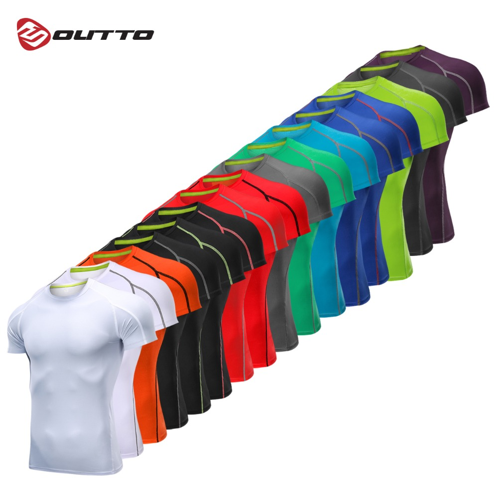 Outto Men's Gym Shirt Running Fitness Sport Training Short Sleeve Top #126