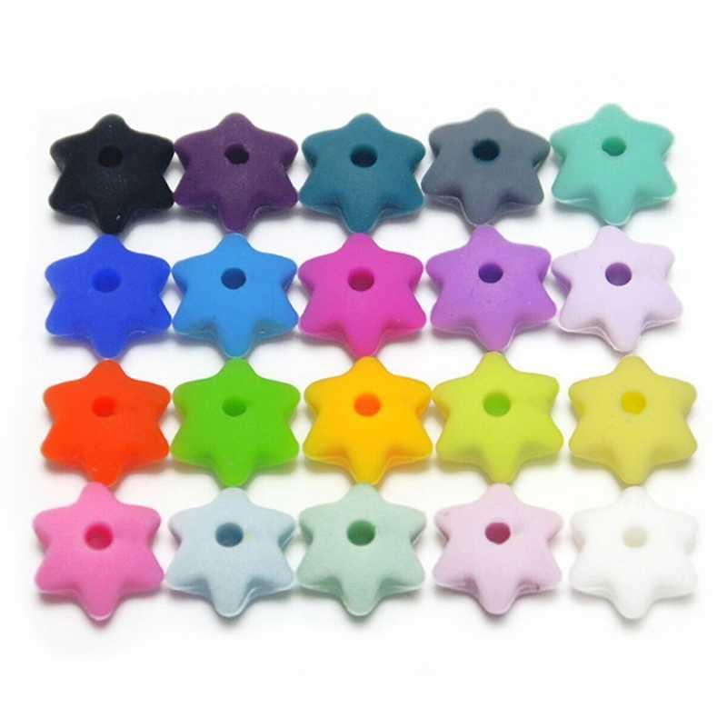 10 unids/lote de silicona de seis estrellas abalorios para dentición de bebé juguetes masticables Cadena de chupete DIY Teteras de calidad alimentaria silicona colores al azar