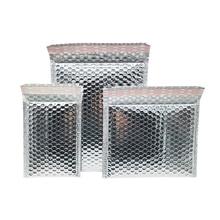 2 Pcs Silver Aluminium Foil Bubble Mailer Bags Metallic Bubble Padded Envelope Shipping Bag Aluminized Film Composite Bubble Bag