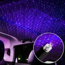 USB dekoratif lambalar ayarlanabilir araba iç dekor ışık Mini LED araba çatı yıldız gece lambası projektör atmosfer Galaxy lamba