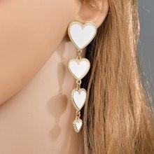 New Bohemian Red Heart Pendant Earrings Ladies Long Tassel Earrings Exaggerated Party Ladies Fashion Jewelry new ladies long pendant metal tassel earrings fashion jewelry personality geometric ladies earrings pendant jewelry