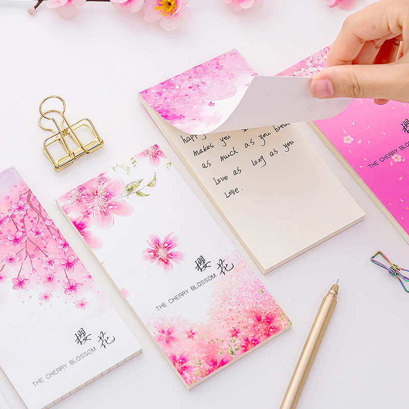 Cute Sakura Block Paper Memo Pad Notepad Korean Kawaii Stationery Sticky Notes Book To Do Check List School Office Supplies Gift