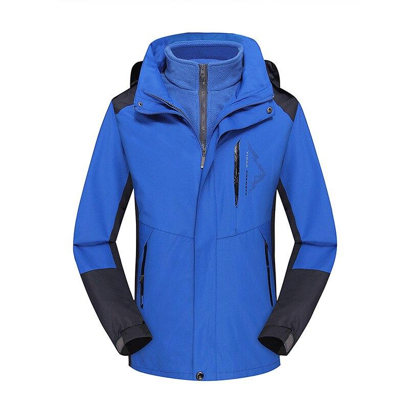 Осень и зима стиль пара открытый лыжный костюм Мужской плащ куртка три в одном Теплый Альпинизм - Цвет: Royal Blue