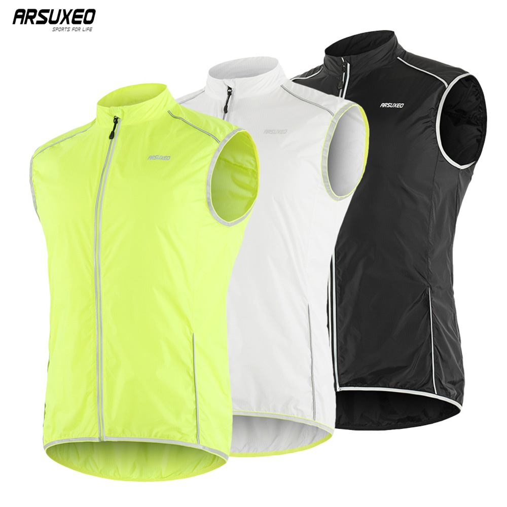 ARSUXEO Men's Sleeveless Cycling Vest Outdoor Pro MTB Bike Bicycle Jerseys Running Hiking Sportswear Windproof Reflective 18V6