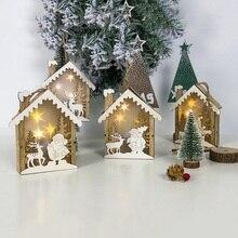 Рождественский мини деревянный дом Светодиодная лампа Рождественский орнамент светящаяся Рождественская игрушка подвеска вечерние украшения Рождественские украшения