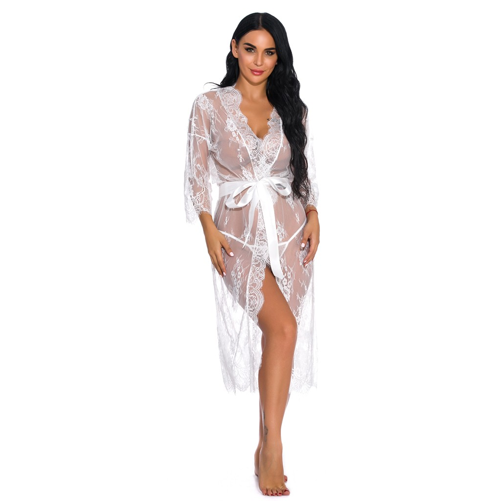 Sexy Lingerie Lace Mesh Sheer Robe Night Dress Perspective Sleepwear And G-String Plus Size S To XXL Under 23 Dollars U.S.Stock Free Shipping From USA