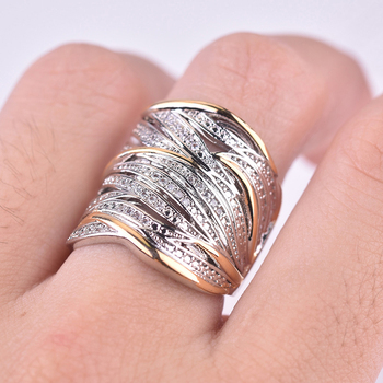 Female Engagement Ring Fashion Gold Silver Color Multi Layer Winding Rings Jewelry Gift Luxury Full Crystal Hollow Twisted Ring
