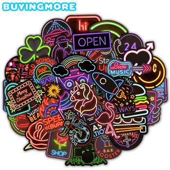 10/30/50 pcs/Pack Neon Light Stickers for Car Motorcycle Phone Travel Luggage Trolley Laptop Computer Toy image
