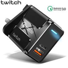 Twitch Quick Charge 3.0 18W PD USB Wall Charger for Samsung Xiaomi iPhone 11 Pro