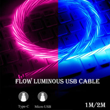 Charging-Cable C-Tape Lighting-Type Fast-Charger Xiaomi Samsung 1m 2m Long LED for Huawei
