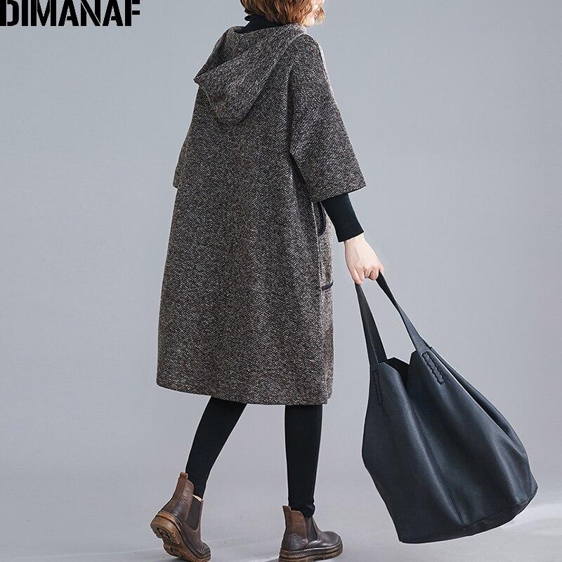 Image 4 - DIMANAF Plus Size Women Dress Vintage Autumn Winter Thick  Oversize Loose Female Vestidos Casual Hooded Pockets Knee Length  DressDresses
