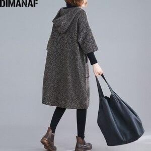 Image 4 - DIMANAF زائد حجم النساء اللباس خمر الخريف الشتاء سميكة كبير جدا فضفاض الإناث Vestidos عارضة مقنعين جيوب الركبة طول اللباس