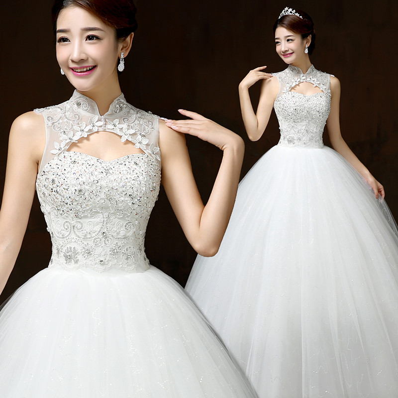 New Style Lace Wedding Dress Korean Style Simple Chinese Halter Wedding Gown Princess Bridal Dress Made In China H60