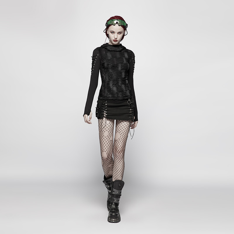 PUNK RAVE Women Gothic T shirt Fashion Hooded T shirt Casual Black Novelty Long Sleeve T shirt Personality Women Punk T shirt - 4