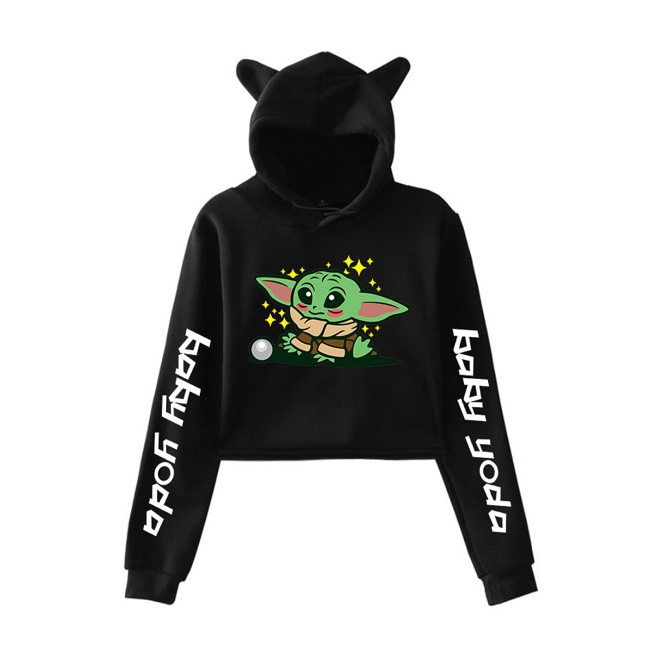 Frdun Tommy 2019 NEW Star Wars The Mandalorian Yoda Baby Print Fashion Cat Ears Top Women Hoodies Sweatshirt Sexy Clothes