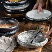 KINGLANG Creative Kiln Glaze 6inch Ceramic Plate Korean Kimchi Plate Dish Salad Single Plate Bowl