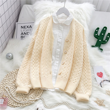 new early autumn of 2019 womens knitted sweater with loose cardigan jacket female coat Green Commuter Leisure Col