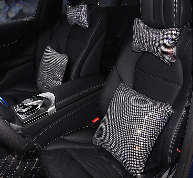 Rhinestones-Crystal-Car-Seat-belt-cover-pad-Neck-pillow-Waist-Support-Steering-wheel-cover-Auto-Interior5