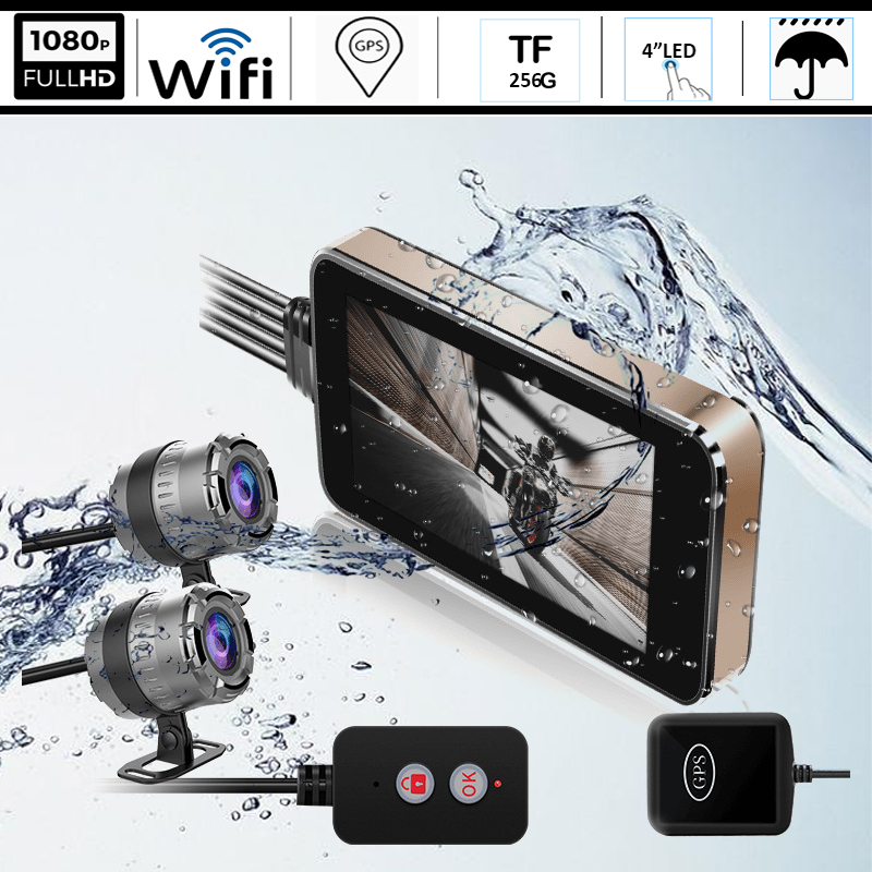 GPS WIFI HD 1080P Waterproof Camera Motorcycle DVR Front Rear Dual Cam Driving Video Recorder Dash Moto Tracker Night Vibration