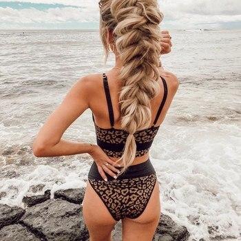 Push Up Sexy Leopard Bikini Set Swimwear Women Two Piece Swimsuit 2020 Bandeau Bikini Set High Waisted Bathing Suits Beach Wear plus size floral high waisted bandeau bikini set