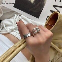 Huanzhi 2020 metal geométrico trançado nó aberto anel de prata cor multi-camada fing anel para mulheres presentes de festa de jóias