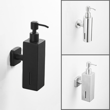 цена на 304 Stainless Steel Hotel Matte Black Soap Dispenser Hand Soap Bottle Bathroom Shower Gel Box Liquid Shampoo Holder Wall Hanging